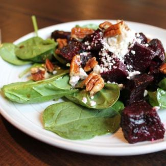 Roasted Beet, Spinach, and Goat Cheese Salad with Maple Glazed Pecans