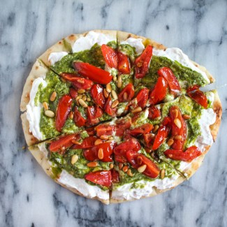 Naan and Whipped Feta Pizza