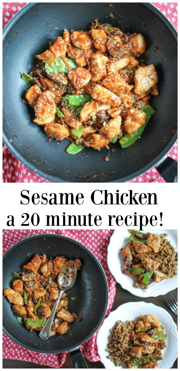 You will love this easy recipe for 20 minute Sesame Chicken! It has a sweet and spicy flavor and is loaded with veggies. It is a weeknight meal you will want to make again.