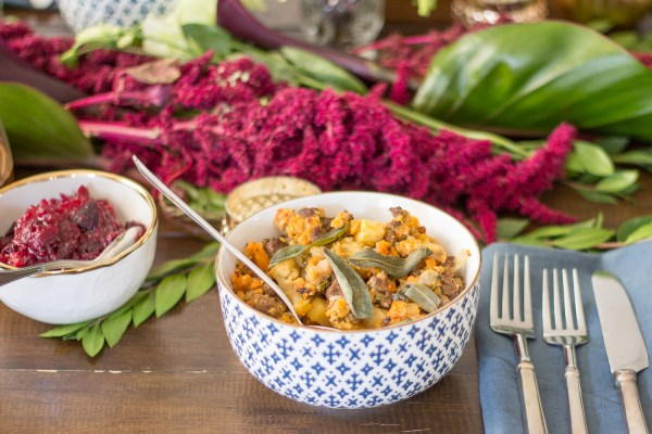 The VERY BEST Thanksgiving Stuffing recipe: Chorizo Stuffing with apples and fried sage!