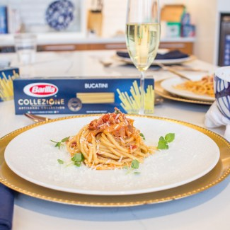 Barilla Collezione Bucatini with Smokey Amatriciana Sauce