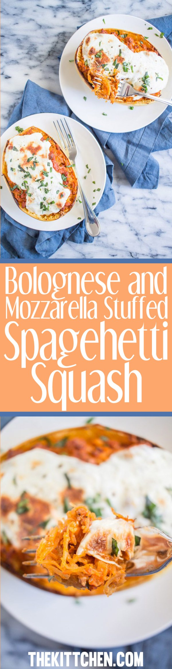 Bolognese and Mozzarella Stuffed Spaghetti Squash - a delicious dinner recipe that your family will love!