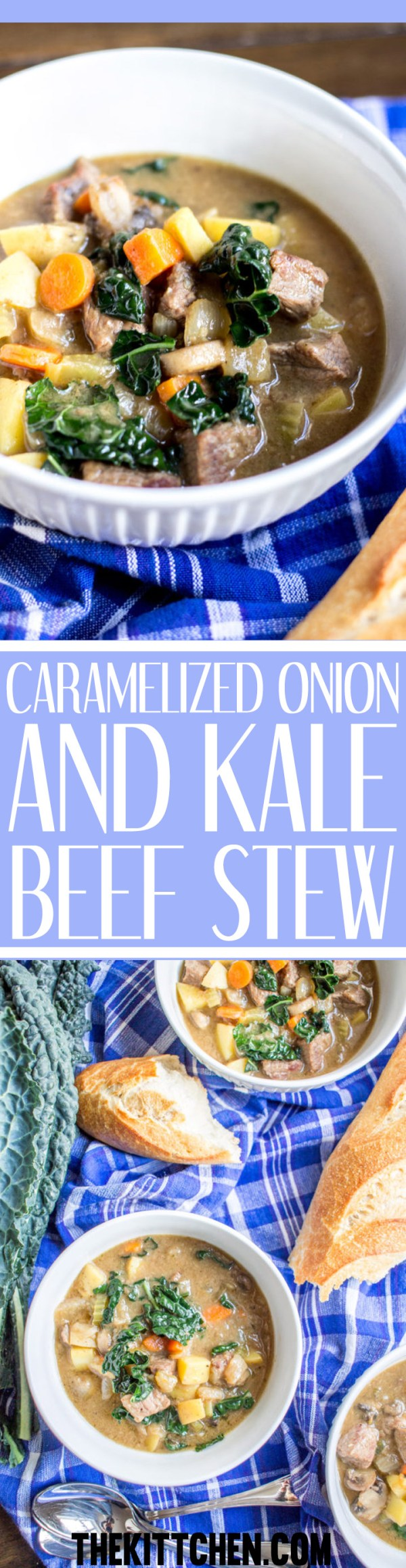 Caramelized Onion and Kale Beef Stew - Your family will love this delicious from scratch recipe!