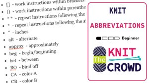 Knit Abbreviations - The Knit Crowd