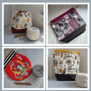 Picture of four fall project bags available at the Knit McKinley's shop on Etsy.