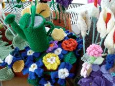 Knitted pansies