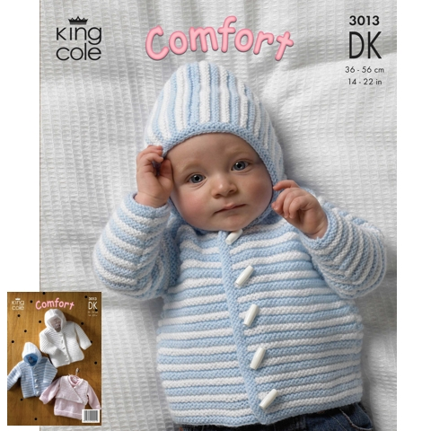 King Cole 3013 Jacket, Sweater and Body Warmer in Comfort DK