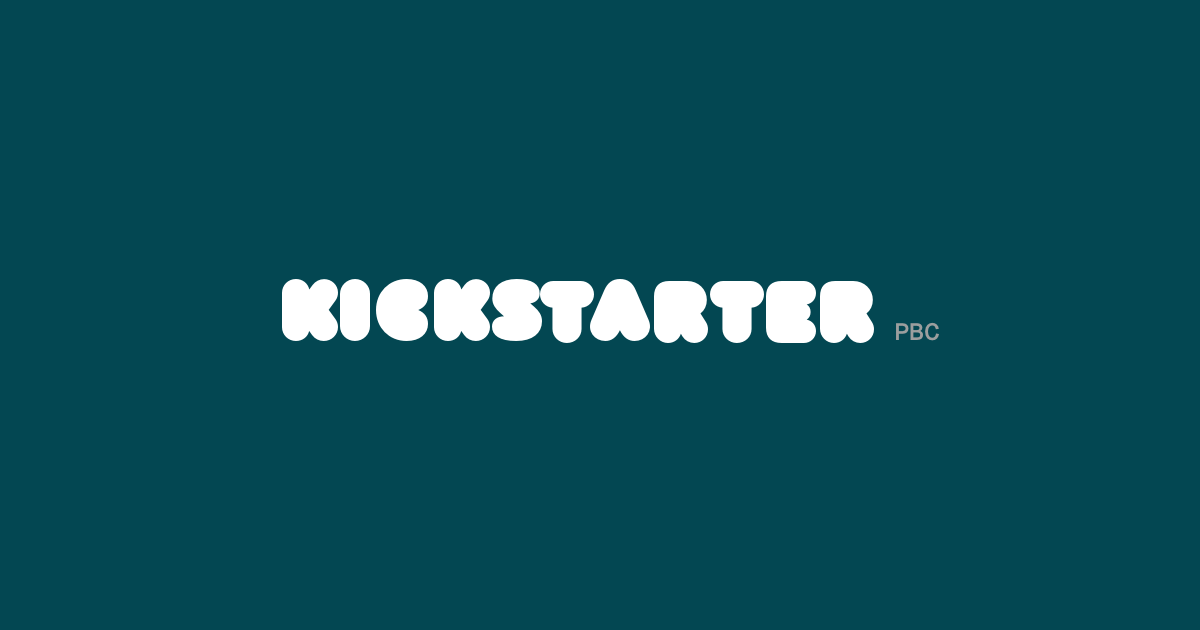 Kickstarter logo on a blue-green background.