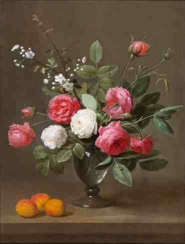 """Jacob van Es' """"A glass vase with a bouquet of roses, a branch of Hawthorn flowers and three apricots on a wooden ledge""""offered by Haboldt · Pictura at TEFAF NY FALL 2017"""