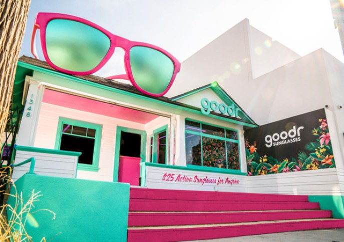 """Exterior image of """"The Cabana"""",  goodr's (a Los Angeles-based sunglass brand) new experiential retail store on Abbot Kinney in Venice Beach, CA"""