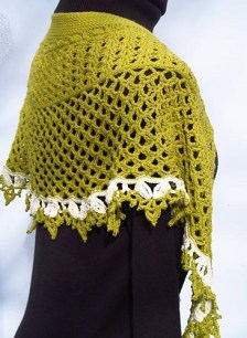 Dragonfruit Shawl in solids by Chamelaucium