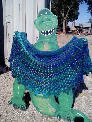 Dragonfruit Shawl in a slow-color-change yarn by rksmom on Ravelry
