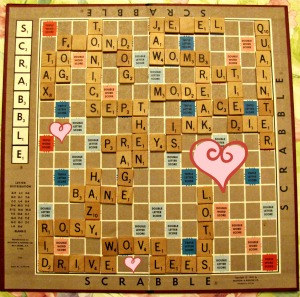 One of our favourite activities is playing Scrabble together