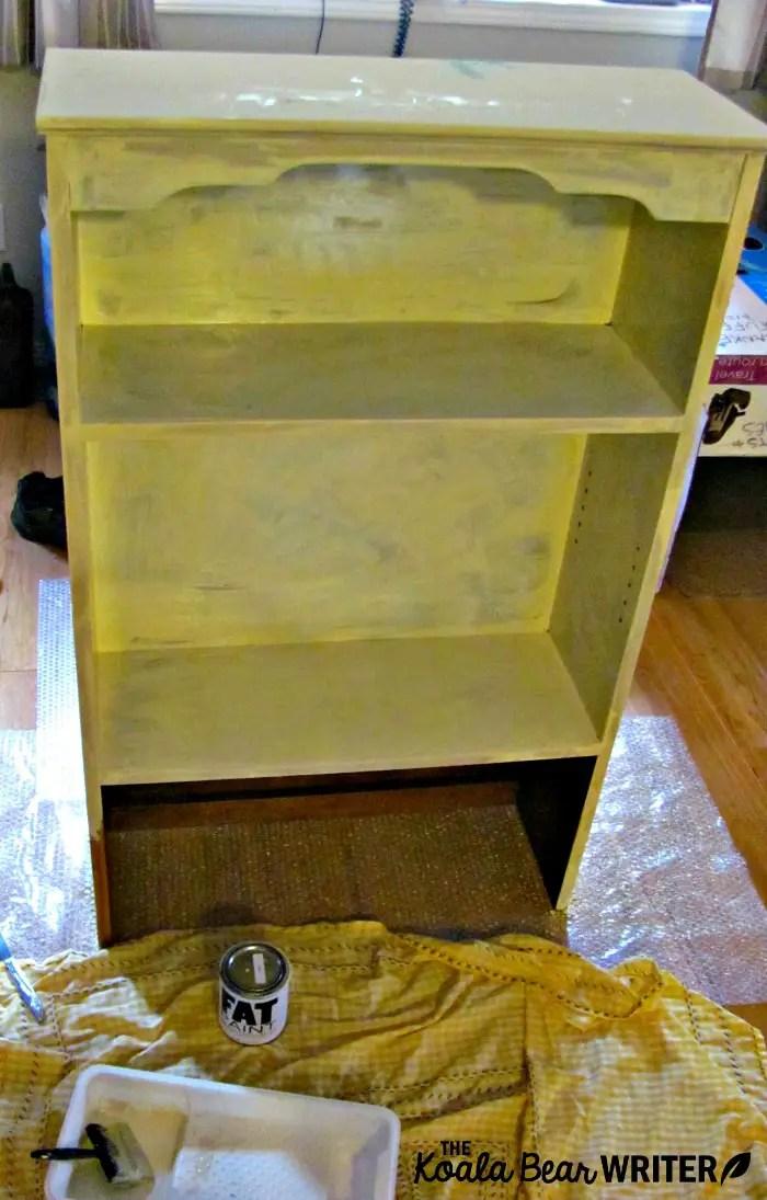 Bookshelf with one coat of chalk paint