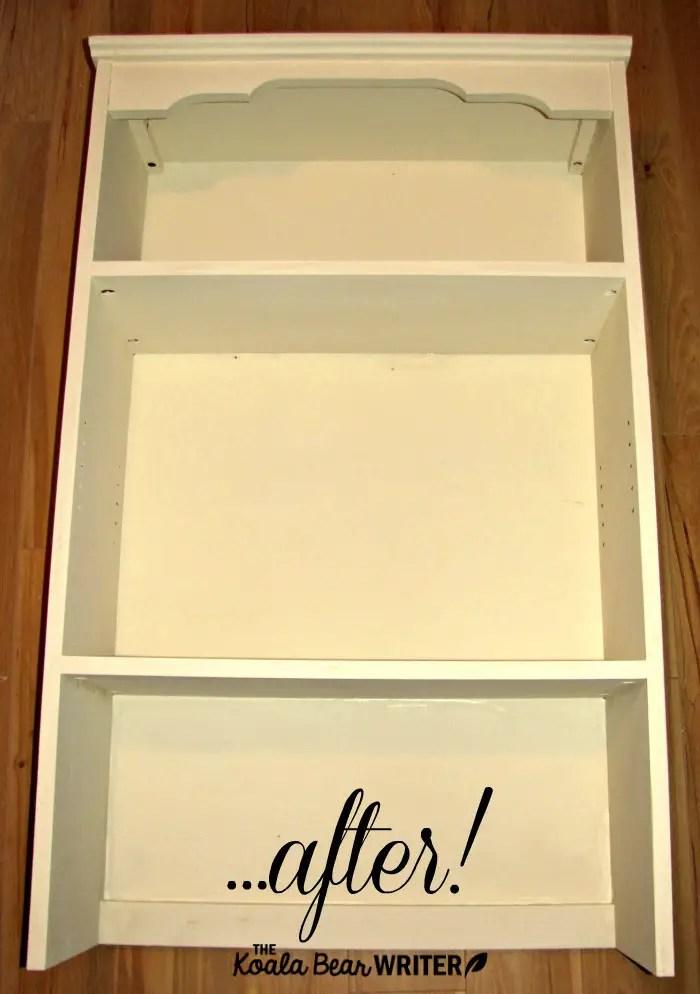 Bookshelf painted with cream chalk paint