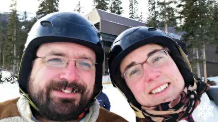 Bonnie Way and her husband taking a break from some downhill skiing at Nakiska Ski Resort