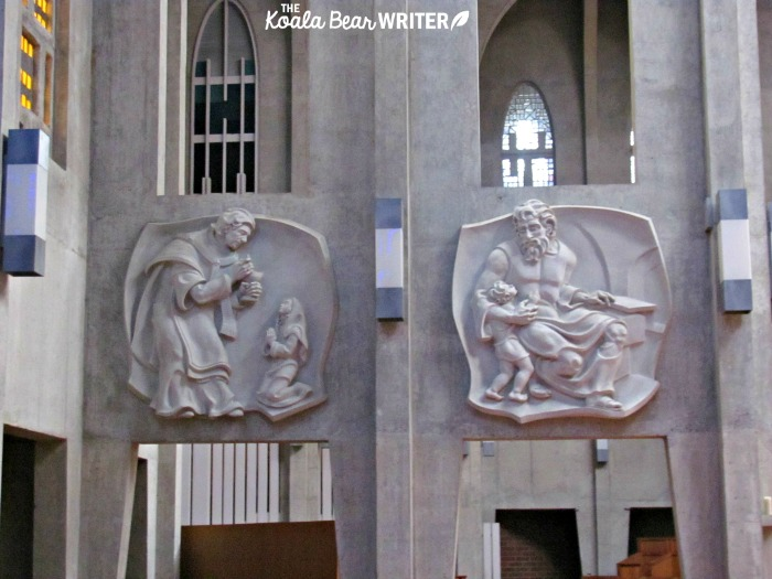 Carvings of saints at Westminster Abbey in Mission, BC