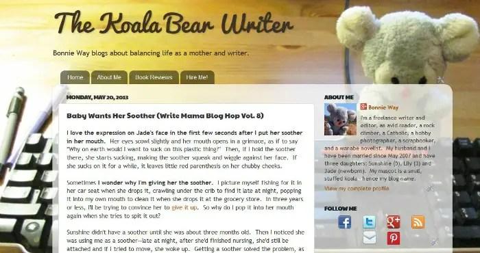 An older version of the Koala Bear Writer blog