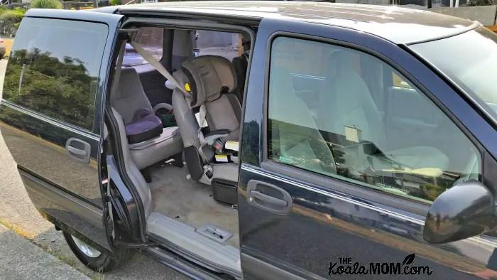 Car seats inside Chevy Venture minivan