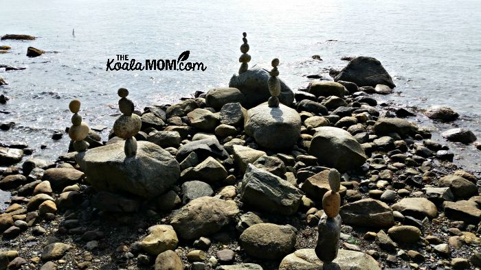 Temporary balanced stones at Stanley Park by Kent Avery