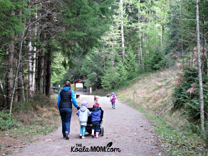 Mom and girls pushing stroller along the Kinsol Trestle Trail