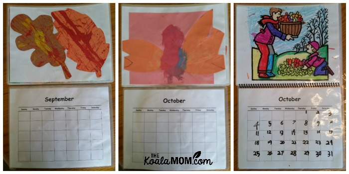 Fall calendar pages