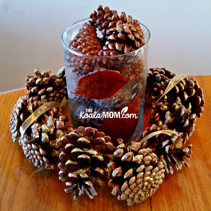 Fall vase and pine cone wreath