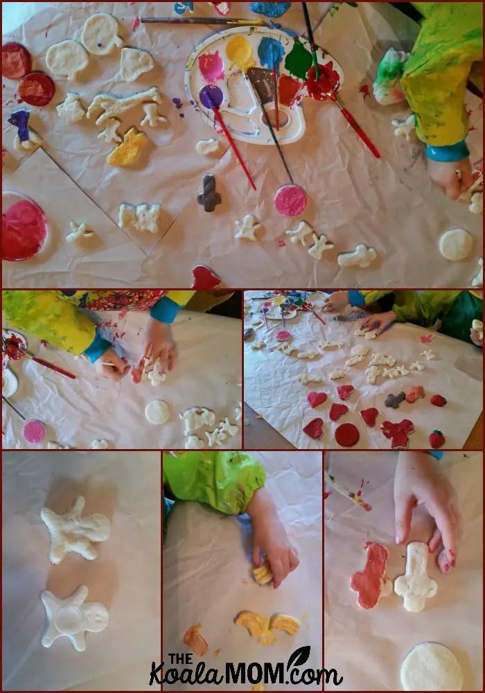 Painting the salt dough figures