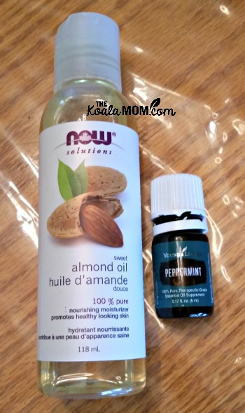 Almond oil and peppermint essential oil