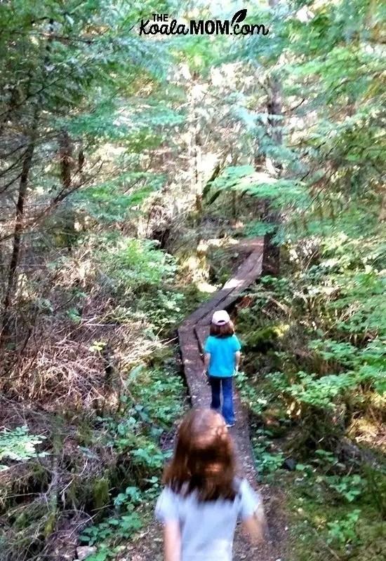 Sunshine and Lily hiking