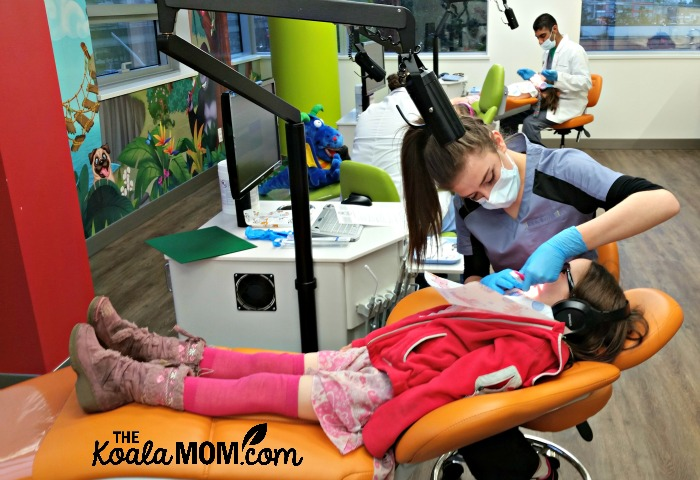 Girls getting their teeth checked at Smiletown Dentistry