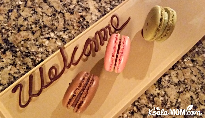 Our welcome at the Oak Bay Beach Hotel: macaroons