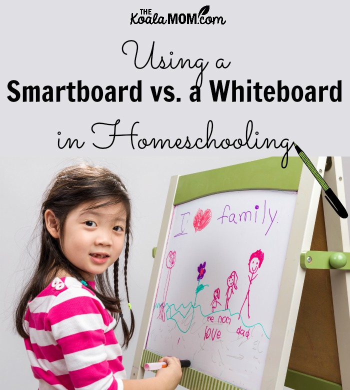 Using a smarboard vs. a whiteboard in homeschooling (cute girl standing at a whiteboard drawing a picture)