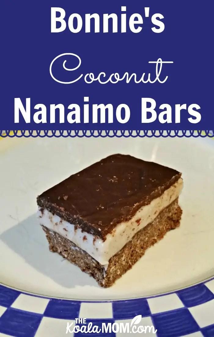 Bonnie's dairy-free coconut nanaimo bars