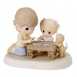 Family Spells Forever (Precious Moments figurine of mom playing Scrabble with her daughter while a kitty looks on)