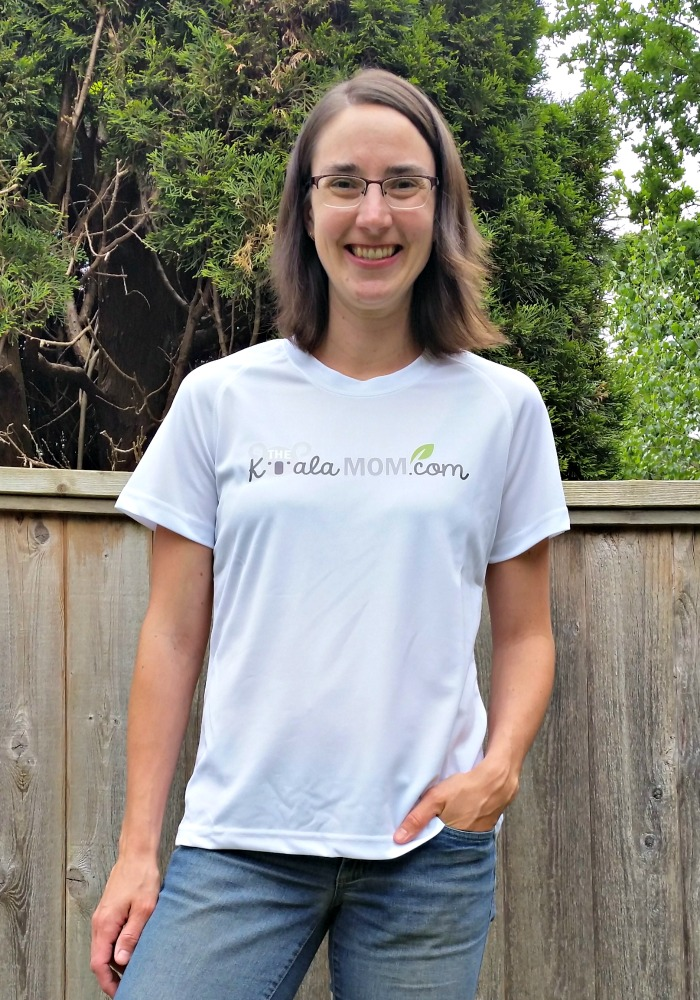 Bonnie Way wearing a shirt with her blog logo on it by Bravo Apparel