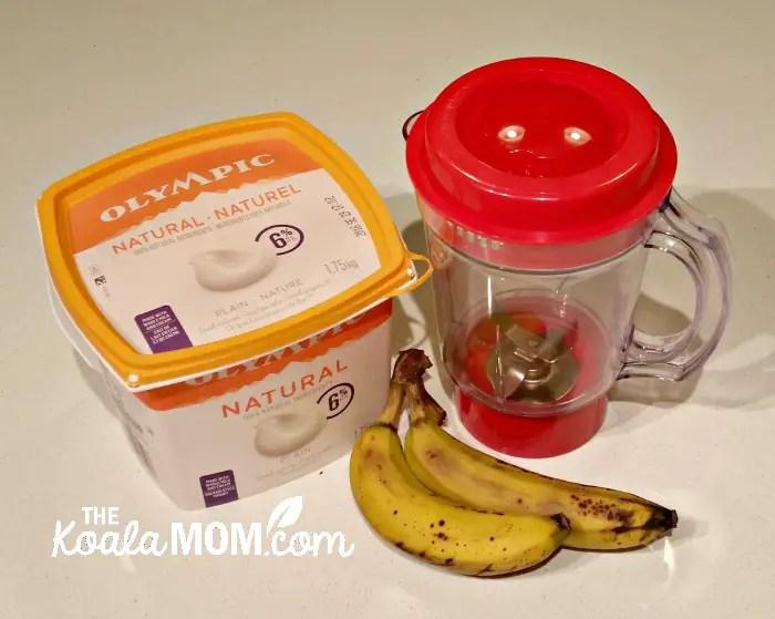 Strawberry Banana smoothie with natural Olympic yogurt