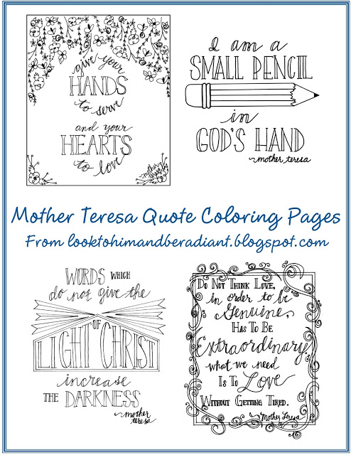 Mother Teresa Quote Colouring Pages