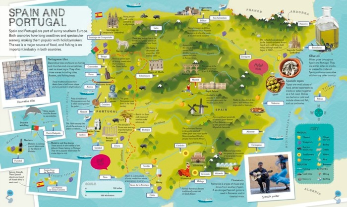 Spain and Portugal page from the Smithsonian Children's Illustrated Atlas from DK Canada