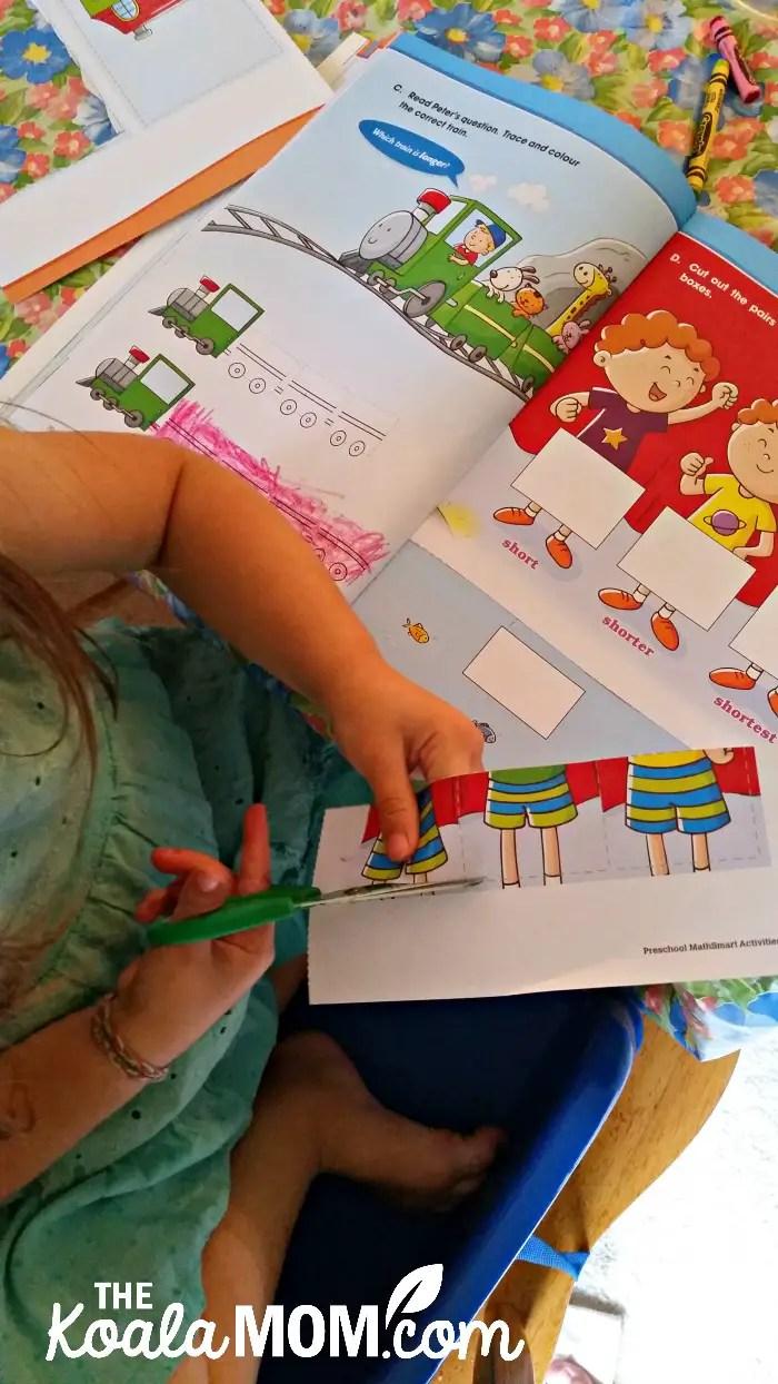 Preschool MathSmart Activities - toddler gluing and cutting