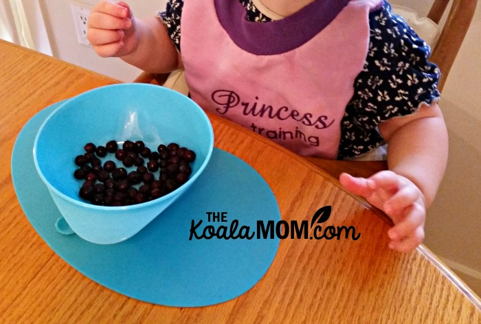 Pearl eating blueberries with her baby mealtime products from Tommee Tippee