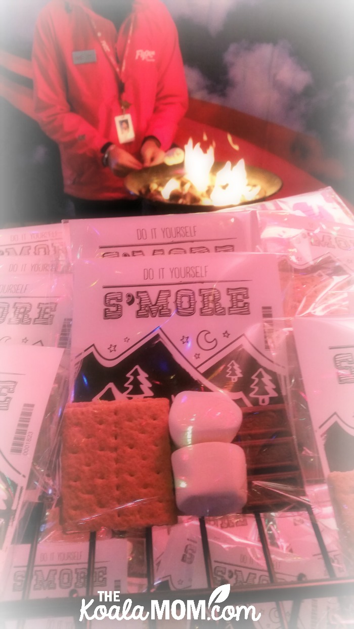 Making s'mores at FlyOver Canada