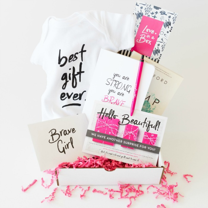 Love in a Box from Embrace Grace, with a journal, book, letters, onesie and more for young, single moms