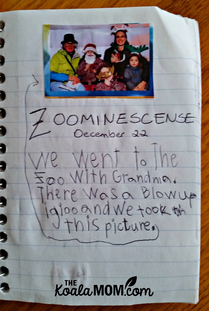 Zoominescene writing prompt and picture in a road trip notebook