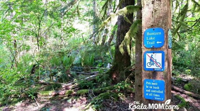 Buntzen Lake trail signs