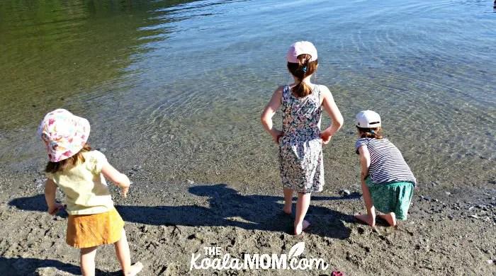 Three girls playing in Buntzen Lake
