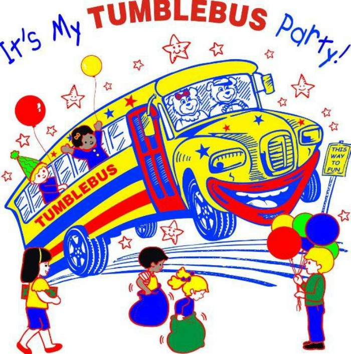 It's my Tumblebus birthday party (drawing with children having fun around a smiling bus)