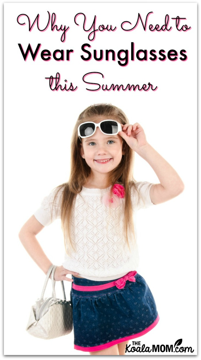 Why You Need to Wear Sunglasses this Summer (girl in a sundress lifts her sunglasses to smile at camera)