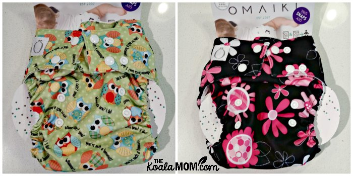 Omaiki cloth diapers, in Flowers and Owls