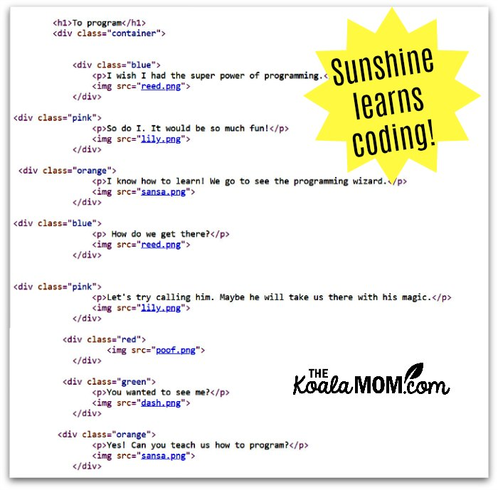 The HTML or code for Sunshine's comic strip, created during her CodeWizardsHQ class.